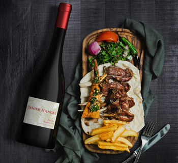 Denier Handal Wine's Petit Sirah paired with lamb chops